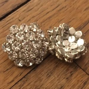 Sparkly Dome Silver Earring Studs